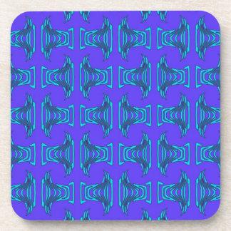 Purple Turquoise Tiki Pattern Beverage Coaster