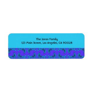 Purple Turquoise Tiki Pattern Label