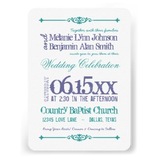 Purple Turquoise Typography Wedding Invitations
