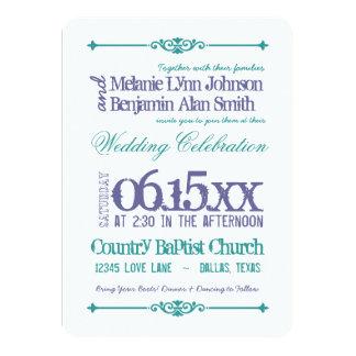 purple turquoise typography wedding invitations - Purple And Turquoise Wedding Invitations