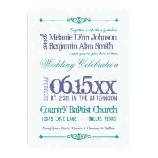 Purple Turquoise Typography Wedding Invitations