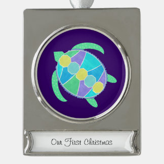 Purple Turtle Silver Plated Banner Ornament
