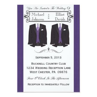 Purple Tuxedo Gay Wedding Invitations