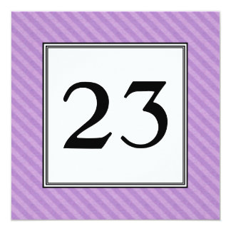Purple Twill Stripes Party Table Number Card