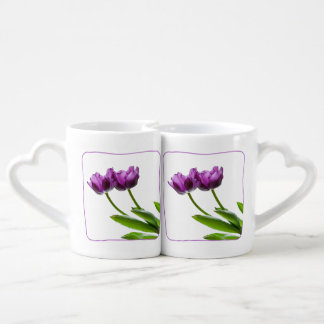 Purple Twin Tulips Spring Floral Isolated Photo Coffee Mug Set