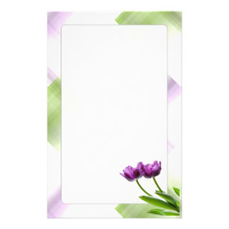 Purple Twin Tulips Spring Floral Isolated Photo Stationery