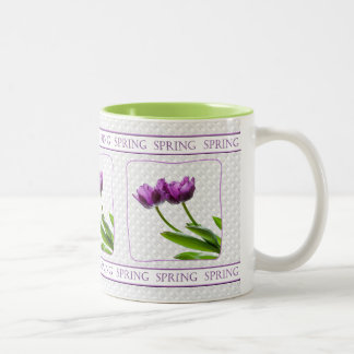 Purple Twin Tulips Spring Floral Isolated Photo Two-Tone Coffee Mug