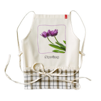 Purple Twin Tulips Spring Floral Isolated Photo Zazzle HEART Apron