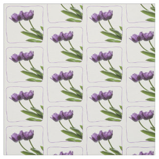 Purple Twin Tulips Spring Floral Photography Fabric