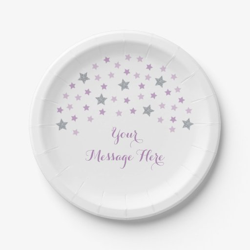 Purple Twinkle Star Baby Shower Paper Plate
