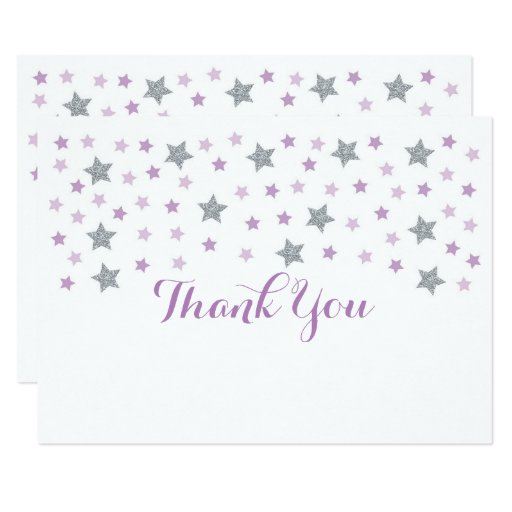 Purple Twinkle Star Thank You Card