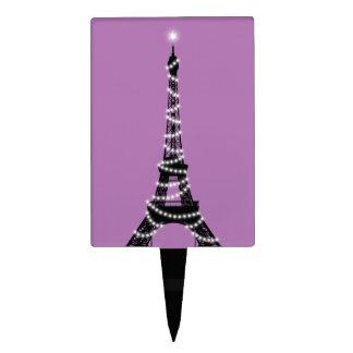Purple Twinkling Eiffel Tower Cake Pick