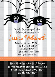 Halloween baby shower invitations announcements zazzle purple twins spider halloween baby shower invites filmwisefo Image collections
