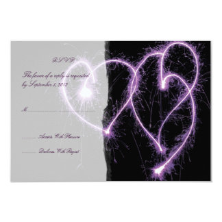 Purple Two Hearts Sparklers Wedding RSVP 3.5x5 Paper Invitation Card