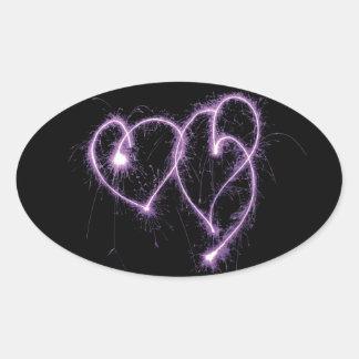 Purple Two Sparkler Hearts Oval Sticker