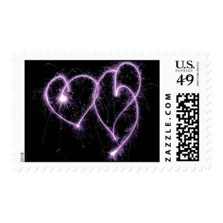 Purple Two Sparkler Hearts Postage