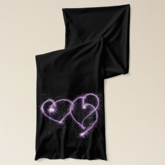 Purple Two Sparkler Hearts Scarf