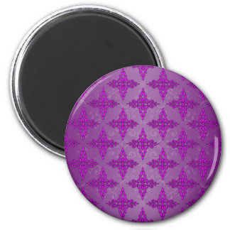 Purple Two Tone Damask 2 Inch Round Magnet