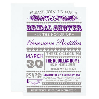 Purple Typography Hearts Bridal Shower Invites