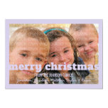 "Purple Typography Merry Christmas Flat Photo Card 5"" X 7"" Invitation Card"