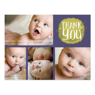 Purple Typography Photo Baby Thank You Post Card