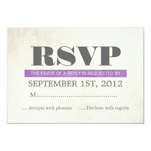 Purple Typography Wedding RSVP Cards Invites