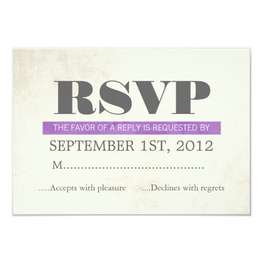 Purple Typography Wedding RSVP Cards Invites