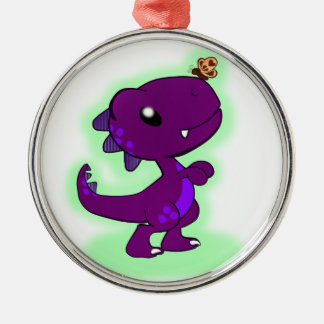Purple Tyrannosaurus Rex Metal Ornament