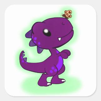 Purple Tyrannosaurus Rex Square Sticker
