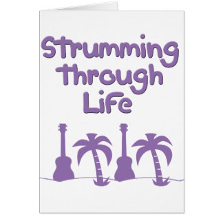Purple Ukulele hawaiin tropical surf design Card