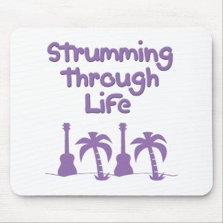 Purple Ukulele hawaiin tropical surf design Mouse Pad