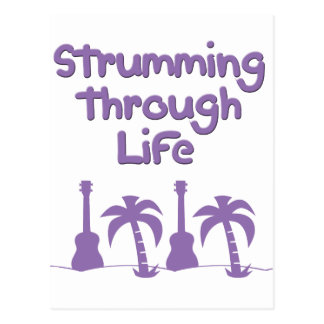 Purple Ukulele hawaiin tropical surf design Postcard