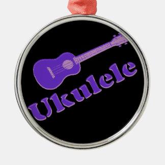 Purple Ukulele Metal Ornament