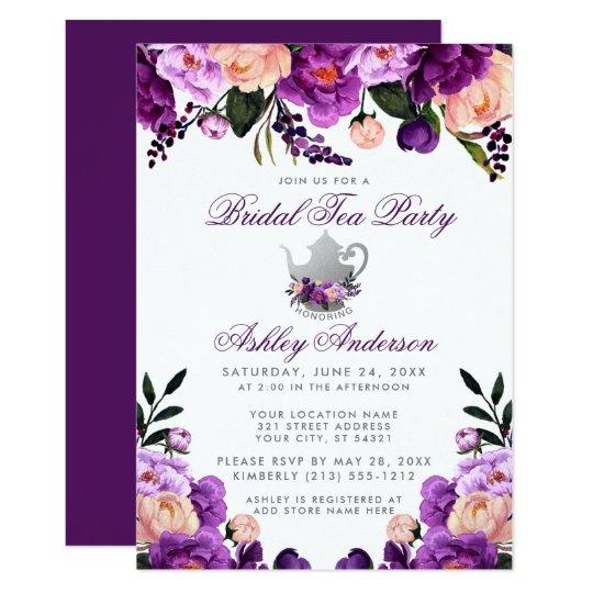 Purple Ultra Violet Bridal Shower Tea Party Invite Zazzlecom