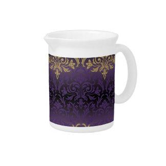 purple,ultra violet,damask,vintage,pattern,gold,ch pitcher