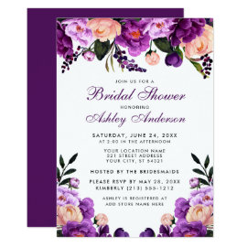 Purple Ultra Violet Floral Bridal Shower Invite P