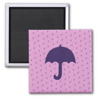 Purple Umbrella 2 Inch Square Magnet