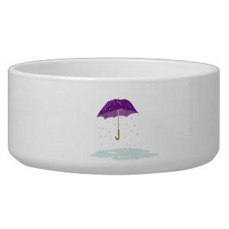 Purple Umbrella in the Rain Pet Bowls