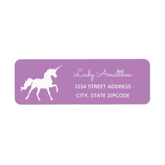 Purple Unicorn Address Label