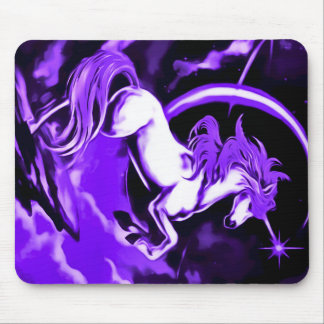 Purple Unicorn Airbrush Art Mouse Pad