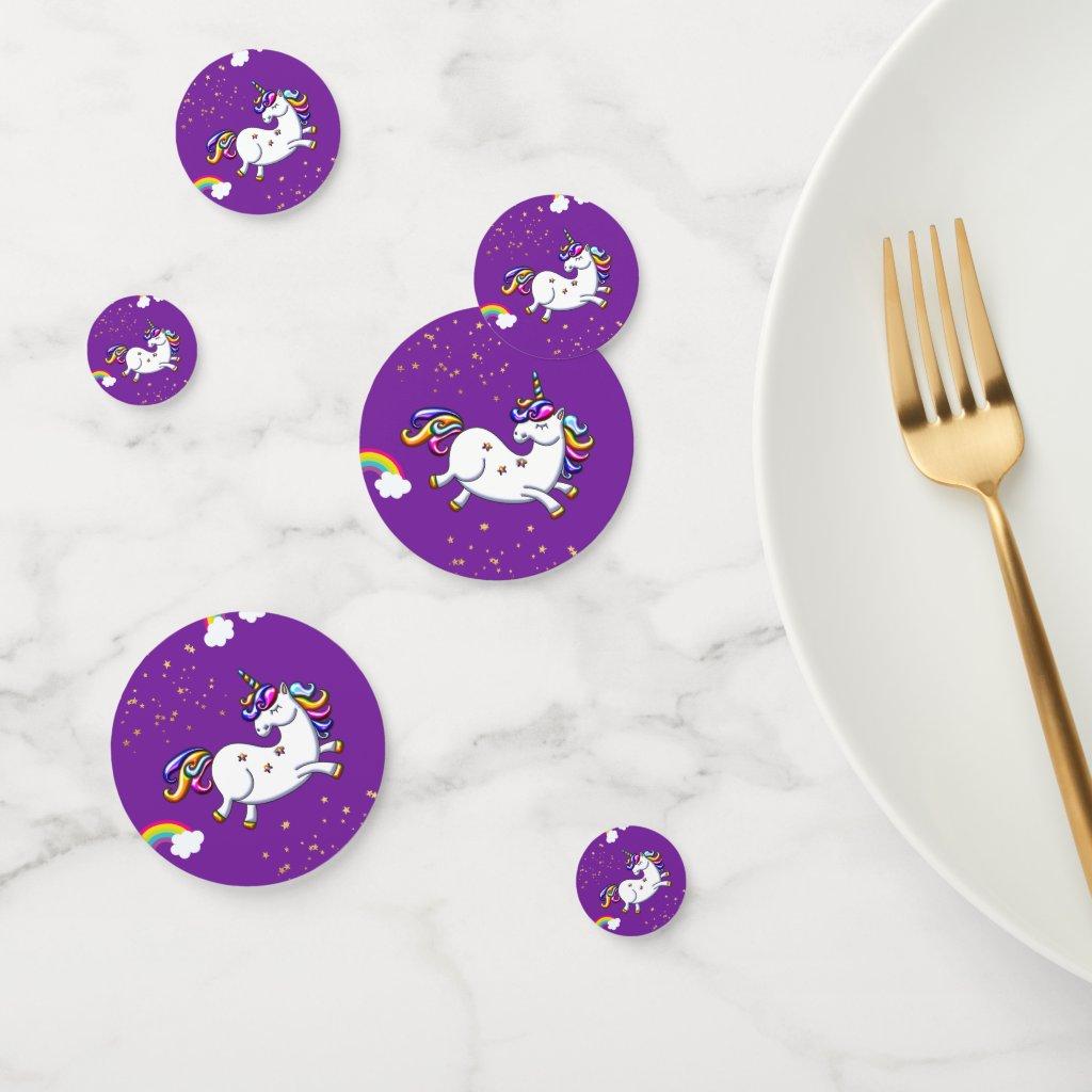 Purple Unicorn and Golden Stars Confetti