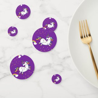 Purple Unicorn and Golden Stars Confetti