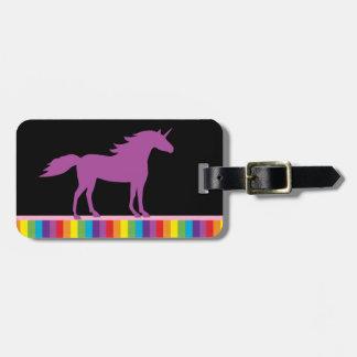 Purple Unicorn and Rainbow Luggage Tag