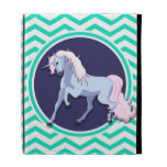 Purple Unicorn; Aqua Green Chevron iPad Folio Cover