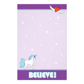 "Purple Unicorn ""BELIEVE!"" Stationery"