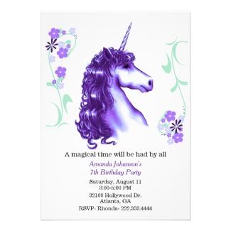 Purple Unicorn Birthday Party Invitation