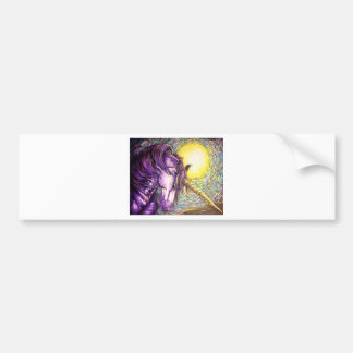 purple unicorn car bumper sticker