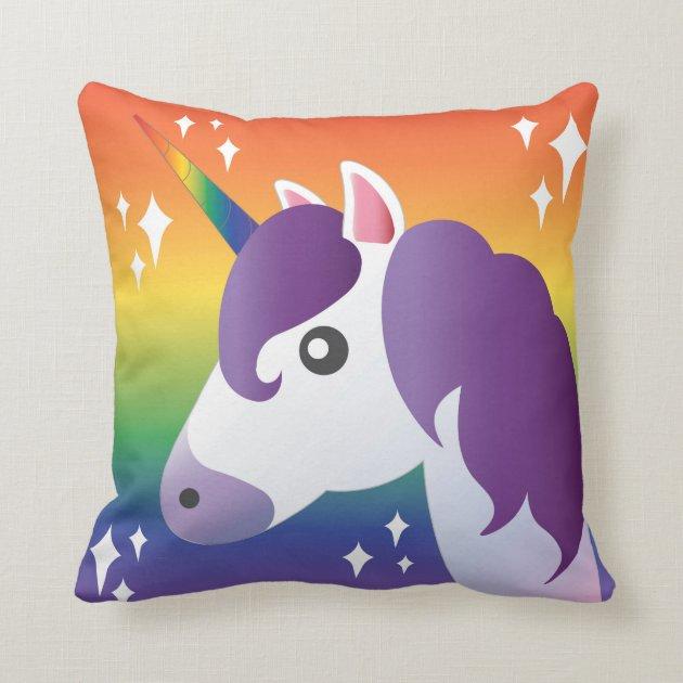 Purple Unicorn Emoji Sparkle Rainbow Pillow Zazzle