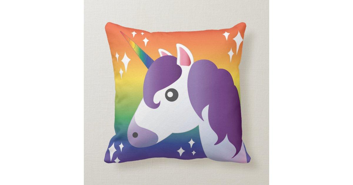 Purple Unicorn Emoji Sparkle with Rainbow Pillow | Zazzle.com