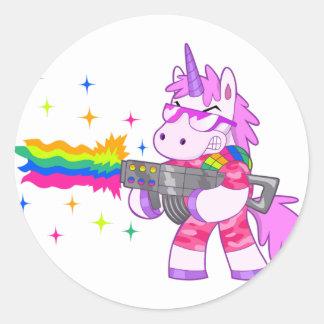 Purple Unicorn - Gun Classic Round Sticker